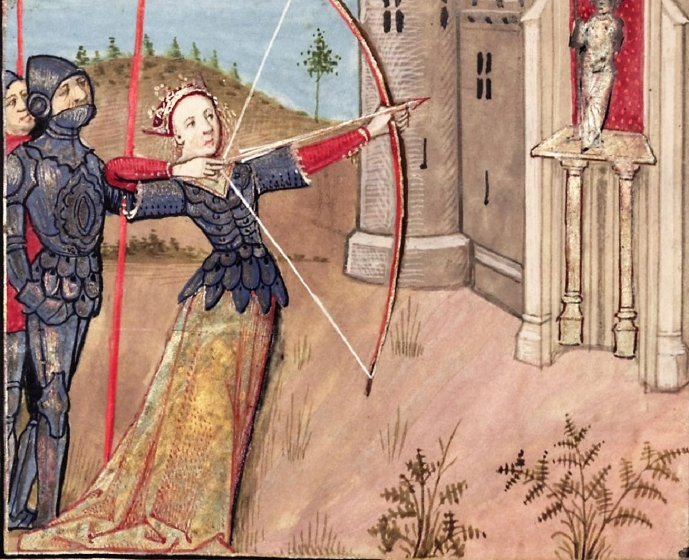 xxx Venus Draws Her Bow to aim at a potential Lover,4- Le Roman de la Rose - 1490 [MS. Douce 195, f. 148v](1)